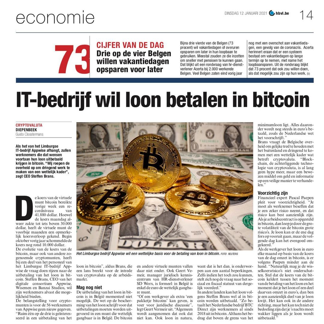 """De bitcoin koers scheert ongeziene toppen! 🚀 Waarom dan niet uw loonbriefje voortaan in bitcoins in plaats van euro laten uitbetalen? 👀 """"De Belgische overheid loopt achter"""". En daar willen wij verandering in brengen 💪Thanks @hbvl.be, @hln_be & Made in Limburg."""